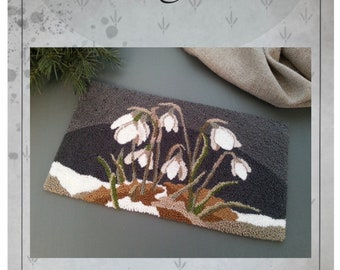 DOWNLOAD - Punch Needle Embroidery Pattern - (Snowdrops) (PNP181) - by Kate Gillery at © Briar Cottage Studio