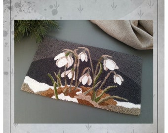 PRINTED - Needle Punch Pattern - (Snowdrops) (PNP181P) - by Kate Gillery at © Briar Cottage