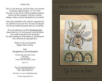DOWNLOAD - Punch Needle Embroidery Pattern - (The buzz on bees) (PNP 174) - Reversed punch by Kate Gillery at © Briar Cottage Studio