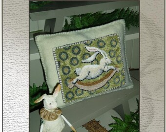 DOWNLOAD - Punch Needle Embroidery Pattern - (Rockin Rabbit)  (PNP  28) - by Kate Gillery at © Briar Cottage Studio