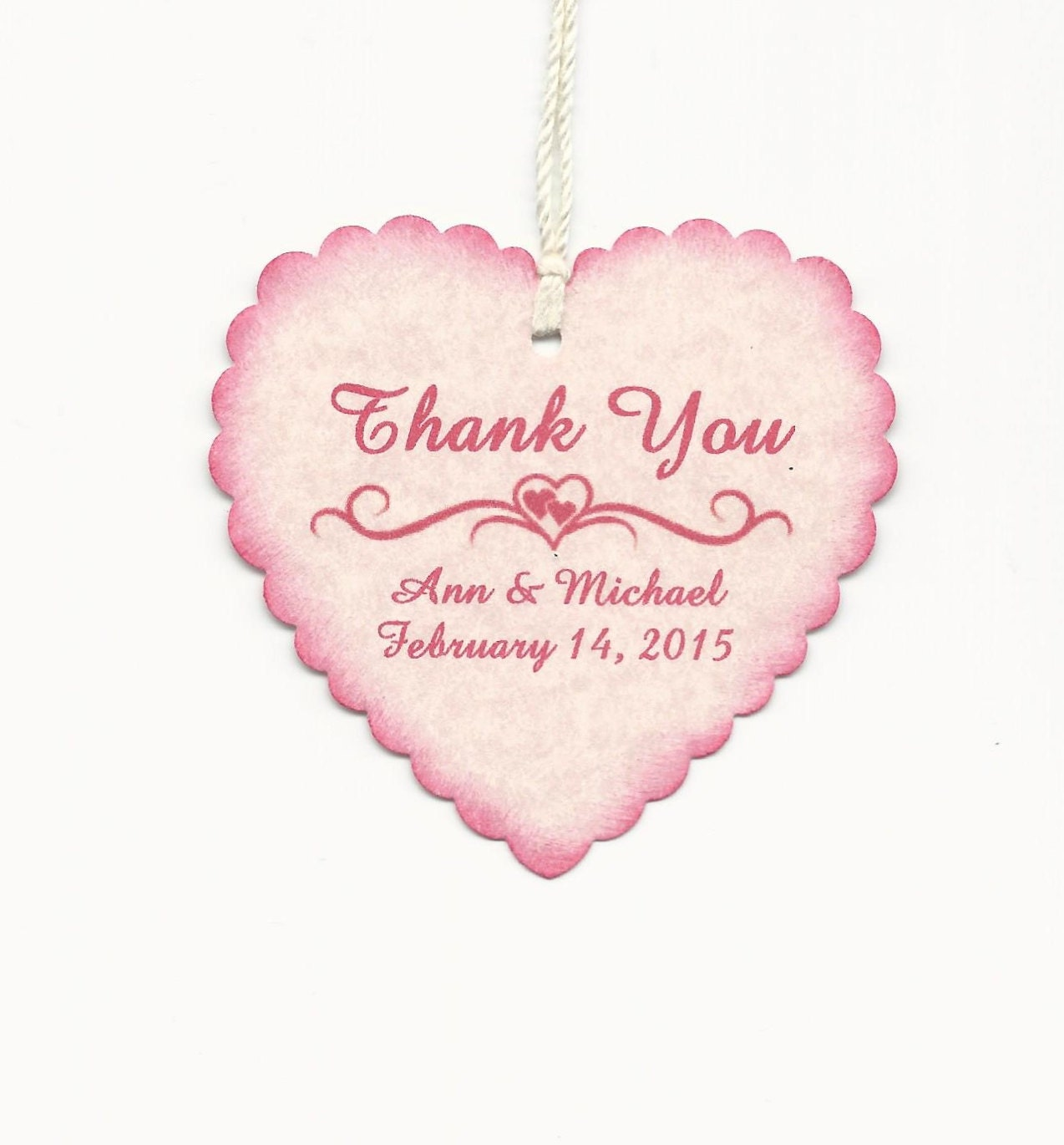 50 PERSONALIZED PINK Heart Shaped Thank you Tag Valentine | Etsy