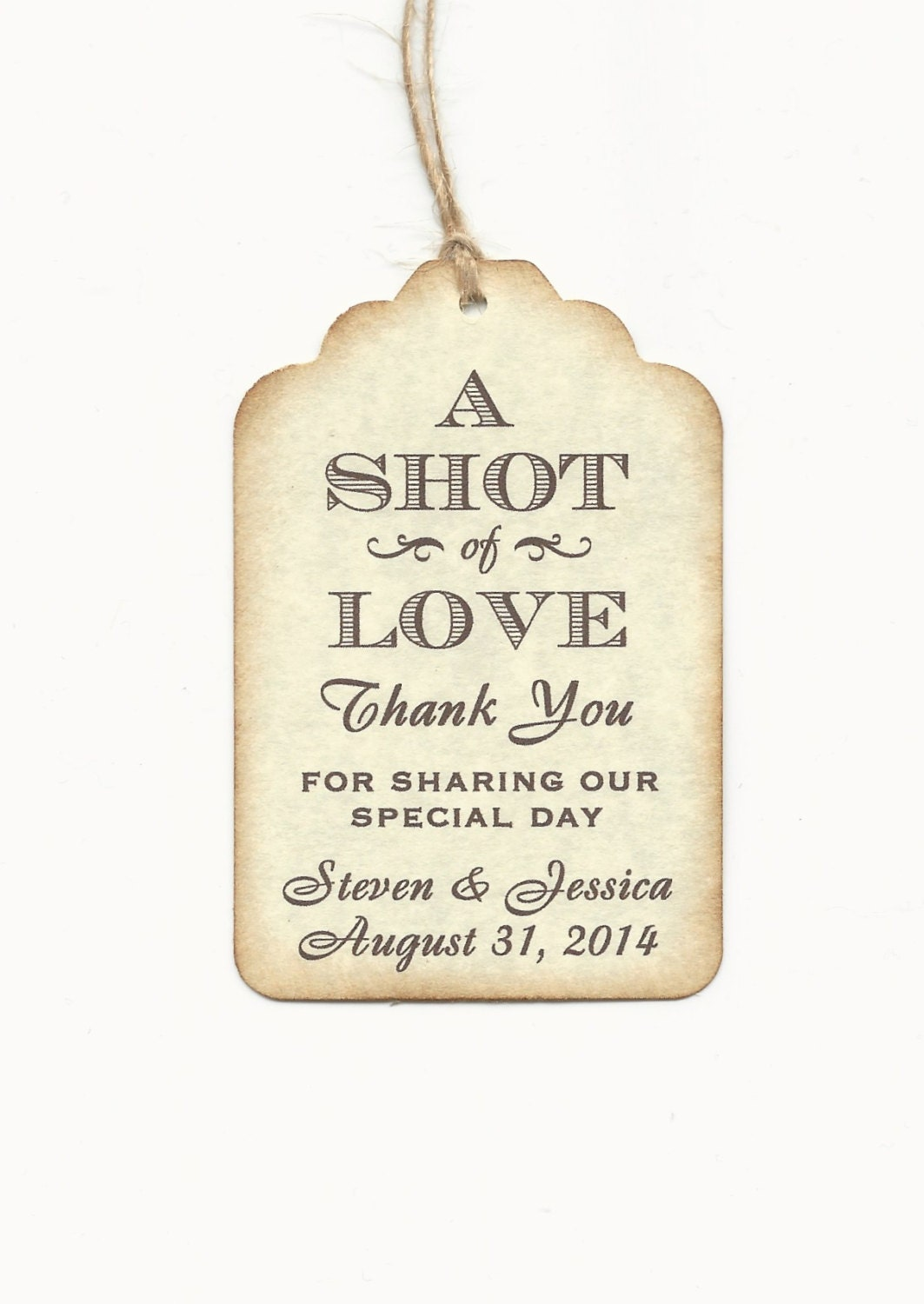 100 CUSTOM Personalized A SHOT of Love Wedding Favor Tags - Wedding ...