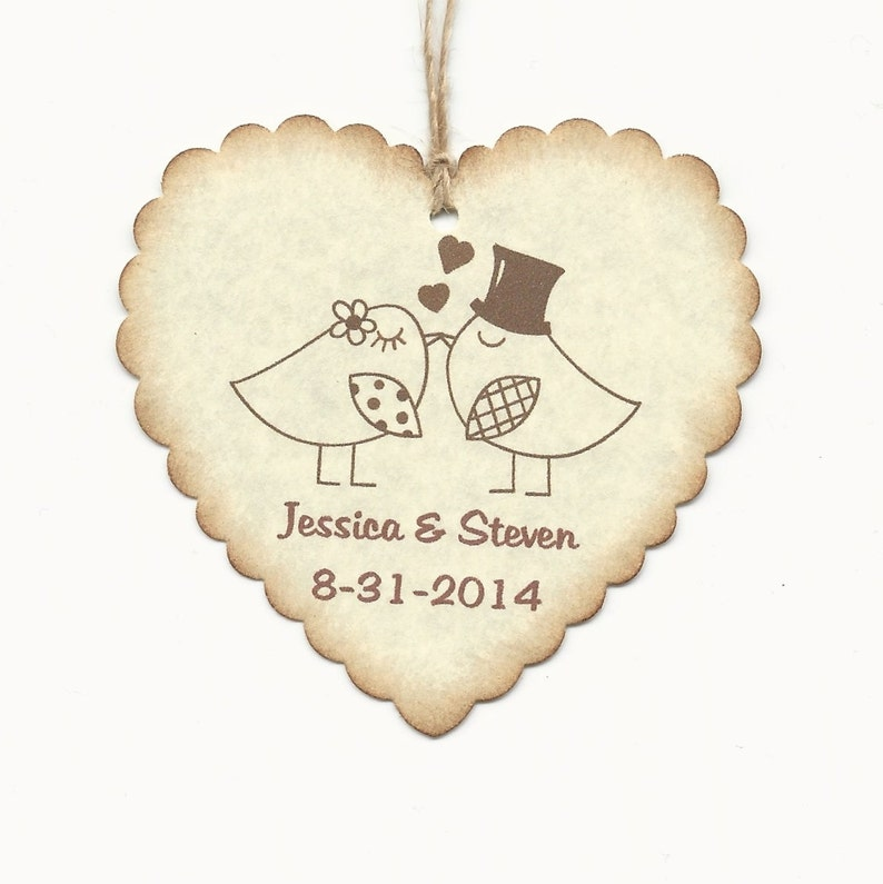 100 PERSONALIZED Heart Shaped Love birds Thank you Tag Wedding  Favor tags-Shower or Gift tags-Hang Tags-JellyJamHoney Jar tags