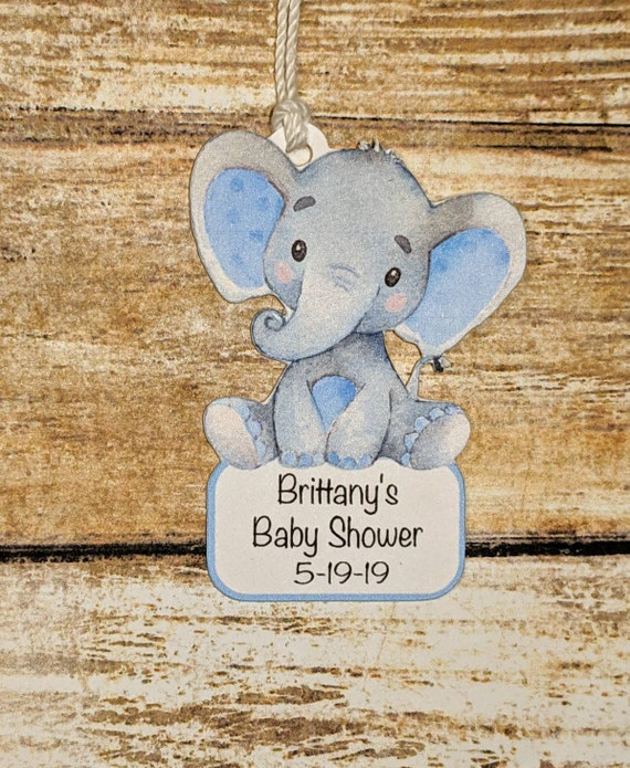 CUTE BLUE ELEPHANT THEMED BABY BOY BABY SHOWER FAVOUR TAGS PERSONAL LITTLE BOY
