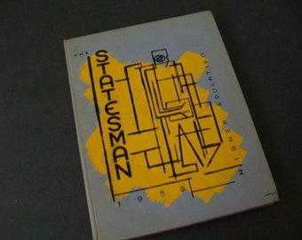 Vintage School Yearbook, 1953, The Statesman Yearbook, School Pictures, High School Memorabilia, Junk Journal Supply, Collage, Mixed Media