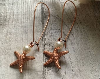 Copper Starfish and Ivory Pearl Earrings