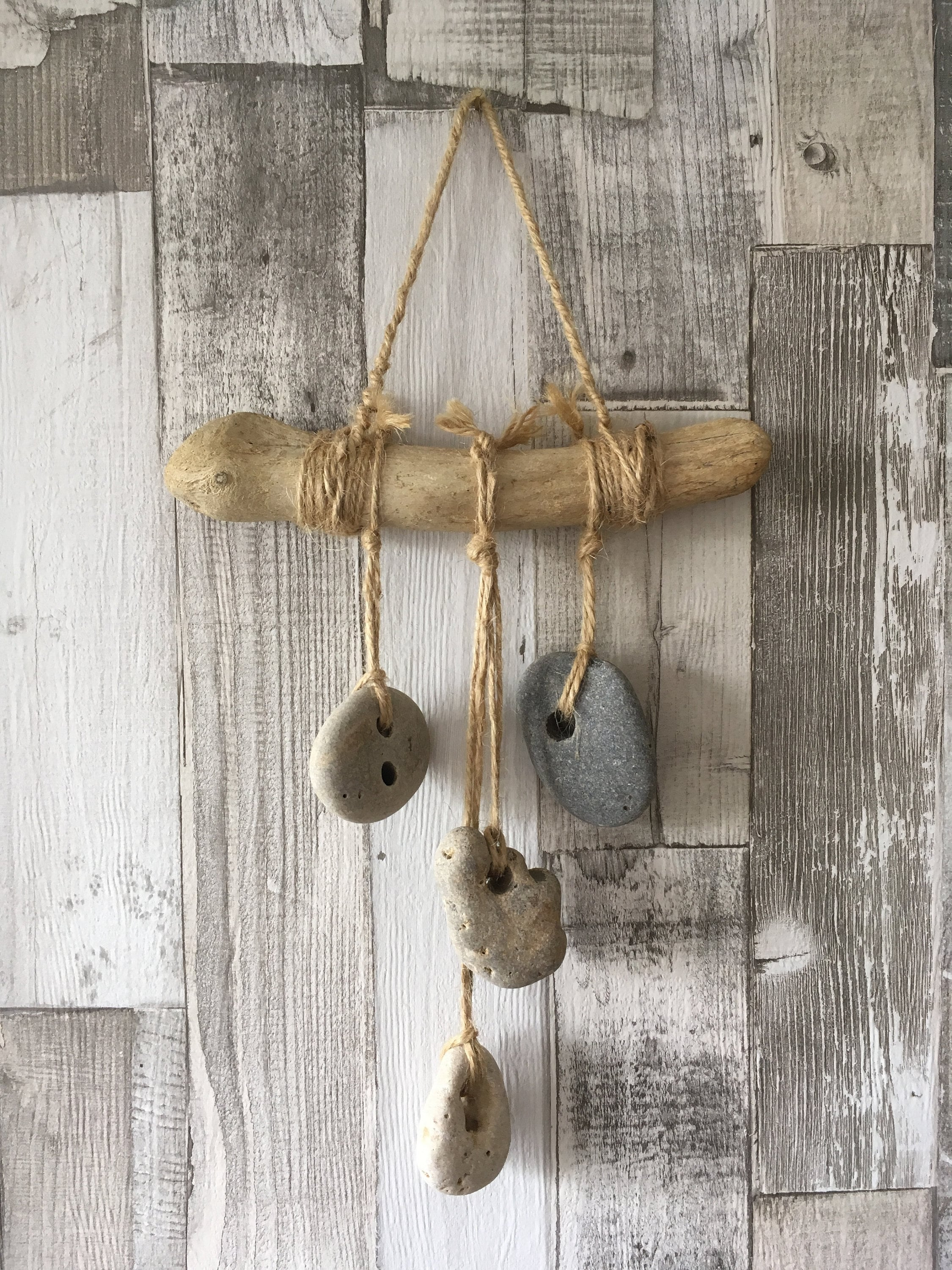 Hag Stone Lucky Stones Hanging Decoration Driftwood Beach Decor