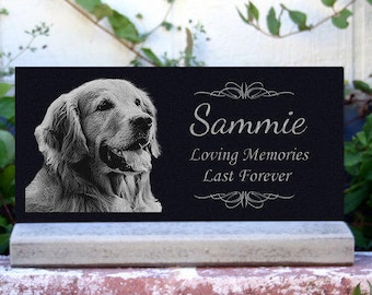 Pet Memorial Stone Pet Grave Marker Pet Tombstone Headstone w/ Optional *Base Stand* Granite Headstone Customized with YOUR Pets Photo