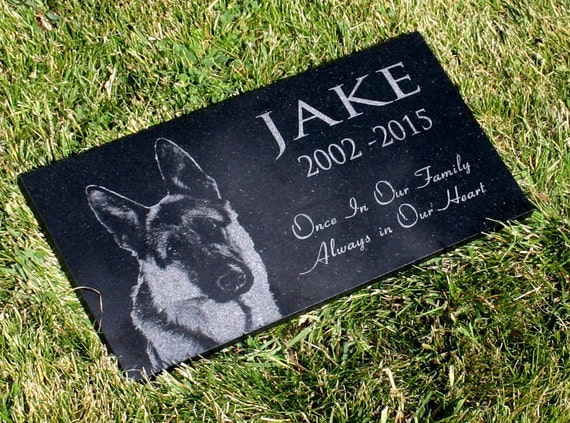 Pet Grave Marker With Custom Photo Granite Memorial Stone 6 X 12 Wide Or 12 X 12 Heavy Base Stand Outdoor Indoor