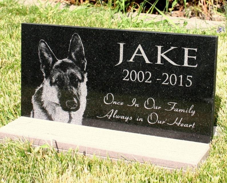 Pet Grave Marker Pet Memorial With Custom Photo Granite Head Stone 6 X 12 Wide Or 12 X 12 Opt Basestand Outdoor Indoor