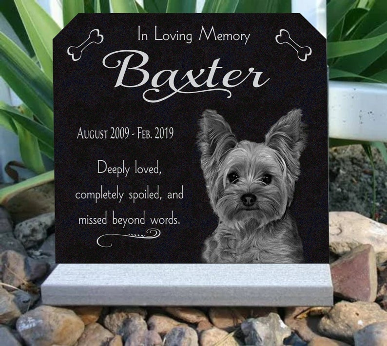 Pet Memorial Stone with Custom Photo Granite Pet Grave Marker and optional  Base Stand 12x11 inch