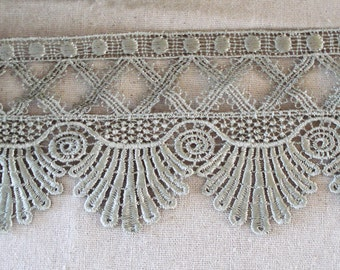 Venice Lace Fringe Trim 3 3/4 Inches Wide In Sage Color.