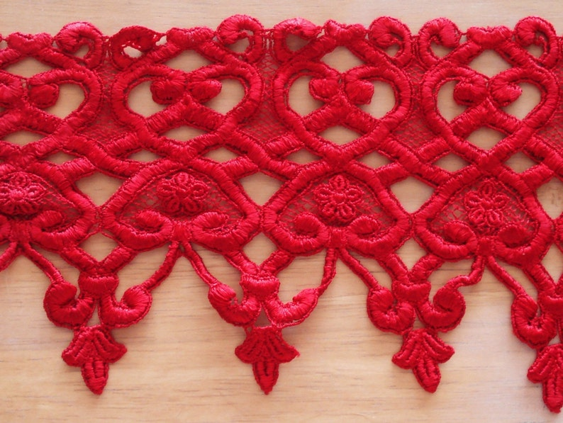 Venice Lace Trim Fabric Red Color 1 Yard 7 14Wide.