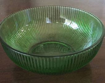 Vintage E. O. Brody Co. Cleveland Green Ribbed Glass Bowl