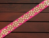 1 Yd Pink Sequins Embroidered Fabric Trim-Pink Silk Sari Border-Table Runner Silk Ribbon-Pink Silk Fabric-Art Quilt Fabric Trim By The Yard