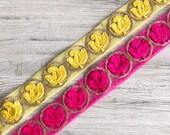 Net Fabric Trim-Multi Colour Embroidered Sari Border-Silk Sari Fabric-Dupattas,Quilt Silk Ribbon-Indian Fabric-Table Runner-Lehengas-Skirts
