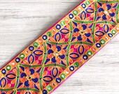 Pink Bohemian Fabric Trim-Art Quilt Table Runner-Embroidered Silk Sari Ribbon Border-Silk Sari Fabric-India Fabric Trim By The Yard
