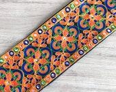 Dark Blue Bohemian Fabric Trim-Art Quilt Table Runner-Embroidered Silk Sari Ribbon Border-Silk Sari Fabric-India Fabric Trim By The Yard