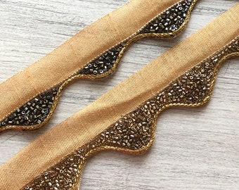 Holiday Decoration Lace Bronze Gold and Silver Beads Lace Saree Border Trim Headdress Trim Indian Trim Art Quilts Sari Fabric 1 Yard