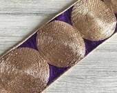 Purple Silk Fabric Trim-Golden Thread Embroidered Circles-SariBorder-Handbags Table Runner Quilts-Traditional Indian Silk Sari Fabric Trim