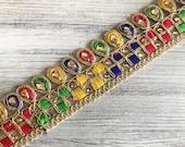 Gold Organza Fabric Trim-Multi Colour Embroidered Sari Border-Silk Sari Fabric-Dupattas,Quilt Silk Ribbon-Indian Fabric-Table Runner-Lehenga