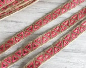 Pink Gold Zari Embroidered India Wedding Trim-Silk Sari Border Trim-Art Quilt Fabric-Table Runner-Silk Ribbon