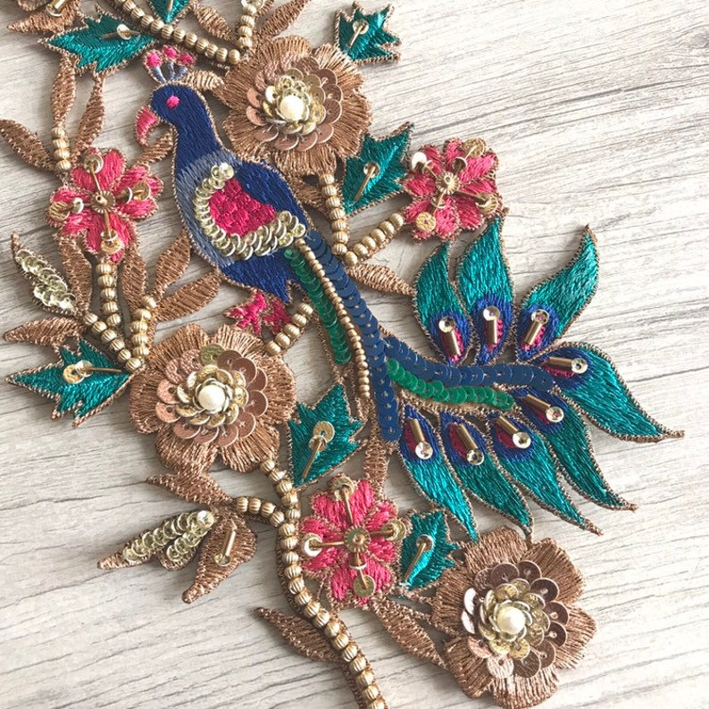 1 piece Peacock Design Hand Embroidered Fabric Applique-Sew-on Beaded Sequins Appliques-Beautify scrap book sewing project-Crazy Quilting
