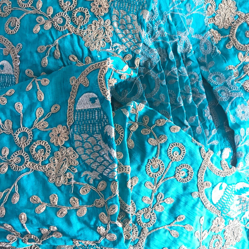 Half Yard-Green Sequins Embroidered Raw Silk Fabric-Green Silk Sari Fabric-Table Runner-Art Quilts-Embroidered Bags-Crazy Quilt-Dupin Silk
