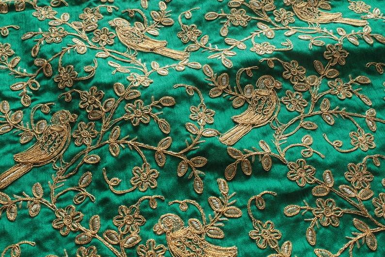 0c647f67 Half Yard-Green Sequins Embroidered Raw Silk Fabric-Green Silk | Etsy