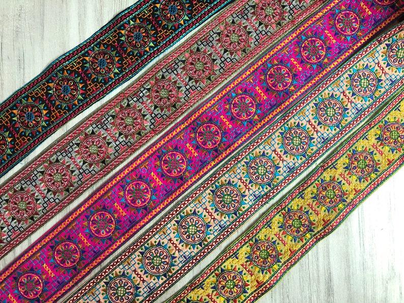 Sari Border Lehenga Fabric Dupatta Lace Embroidered Saree Trim Indian Silk Fabric Trim Floral Design Sari Fabric Trim By The Yard