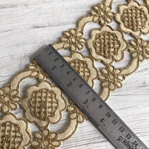 Gros doré Saree Saree Saree bordure dentelle pour la coiffe, Dupatta, Lehenga, décoration de vacances, dentelle Trim, indien indienne Sari de soie tissu patchwork b0219b
