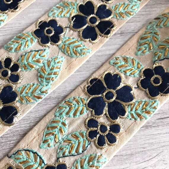 9 yds brodé décoratif garniture indien Sari Sari indien Border artisanat Saree tissu coupe couture ruban, Costume mode garniture rubans de soie cb3f09
