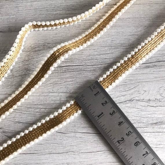 Yds Yds Yds 9 perles dorées Saree bordure dentelle pour coiffure, Dupatta, Lehenga vacances décoration, garniture indien, indien dentelle, tissu de Sari courtepointes b01be3