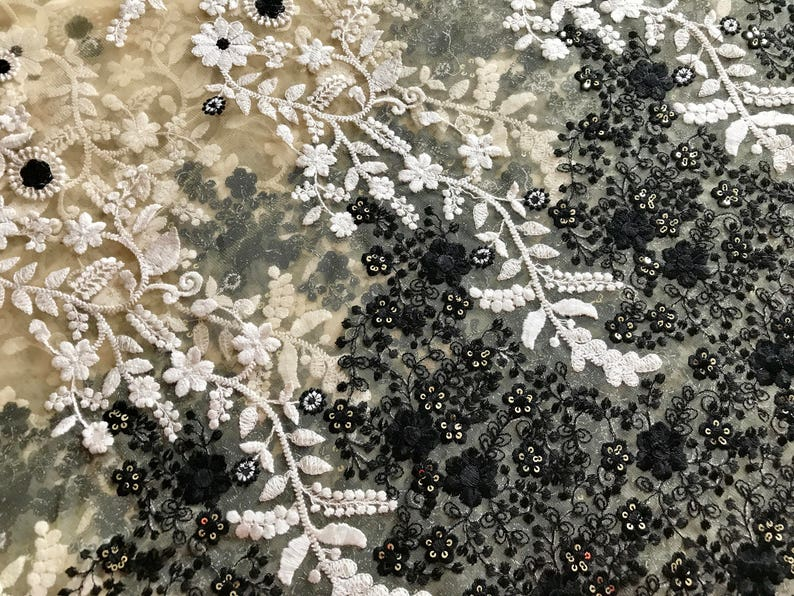 Half Yad-Beige Black Embroidered Net Fabric-Wedding Lehenga-Blue Flowers-Bag,Dupatta,Table Runner,Art Quilt-Glitter Fabric-India Sari Fabric