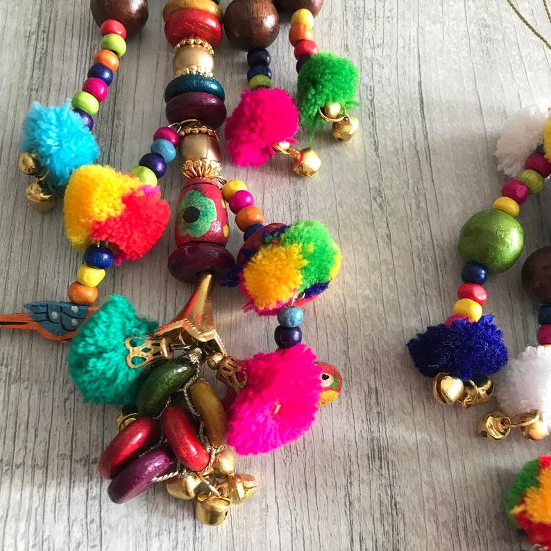 Wedding Lehenga Dupatta Latkan-Multi colored Pom Pom Ethnic Tassel-Gypsy Kutch Tassels-CHARMS /& Decoration-Beads Stones mirror camel swag