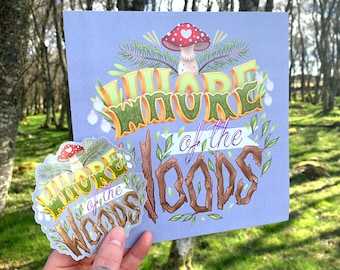 Whore of the Woods Square Art Print & Sticker - Grey