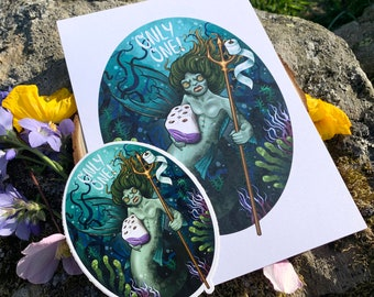 Covid Toilet paper ONLY ONE! Merperson A5 Art Print & Sticker