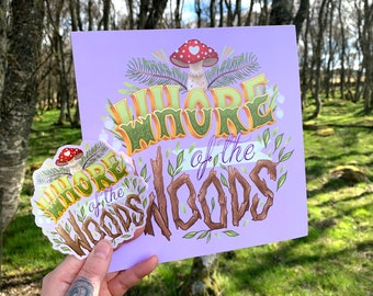 Whore of the Woods Square Art Print & Sticker - Lilac