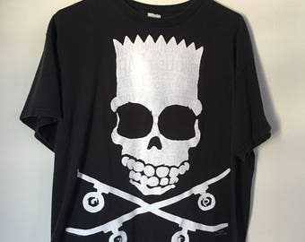8760679e90 Glitter Bart Skull Double Sided Skateboard Crossbones Graphic Tee Shirt  Tshirt The Simpsons 90s