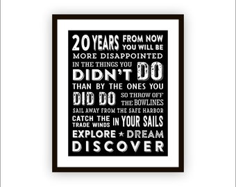 Mark Twain Wall Art Inspirational Quote Typography Wall Art Explore Dream Discover