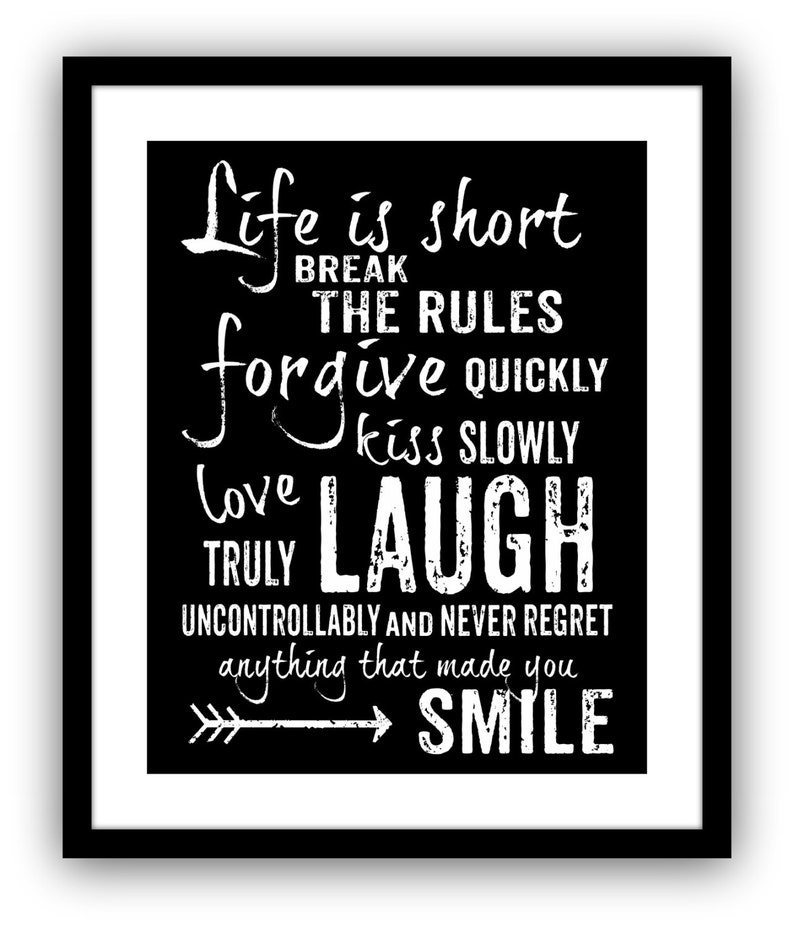Life Is Short Break The Rules Mark Twain Quote Art Print Etsy
