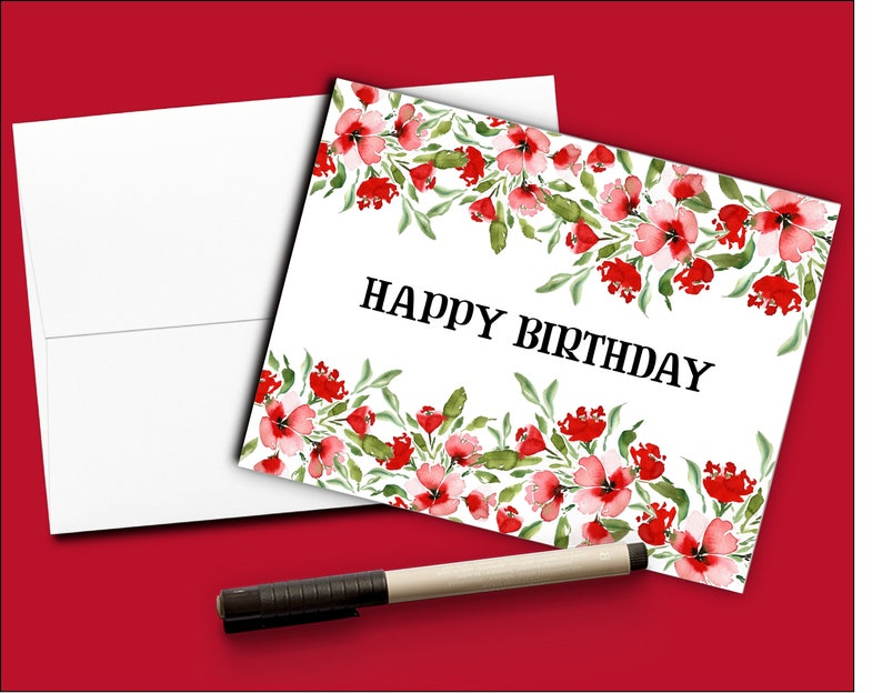 Birthday Card Red Flowers Watercolor Floral