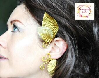 Gold leaf ear cuff Belle ear cuff wrap elven toga whimsical woodland fashion accessory