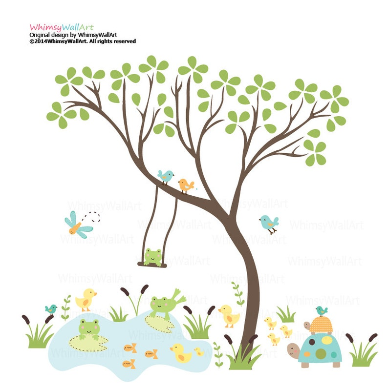 frogs fish turtle pond birds and grass Vinyl wall art decals stickers ducks Childrens Vinyl Pattern Decal Leaf Tree with swing