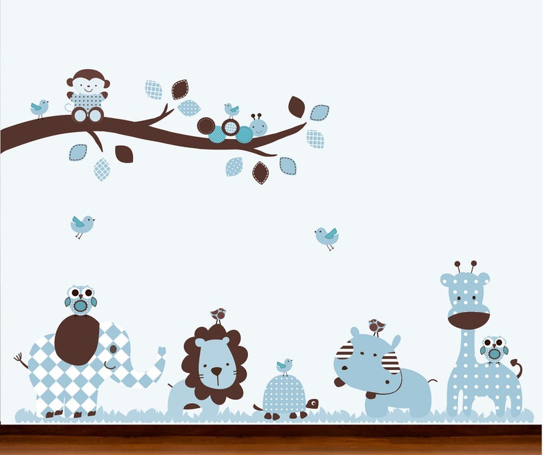 Vinyl Wall Art Decal Blue and Brown Baby Nursery Jungle Pattern Branch  and Animals Set