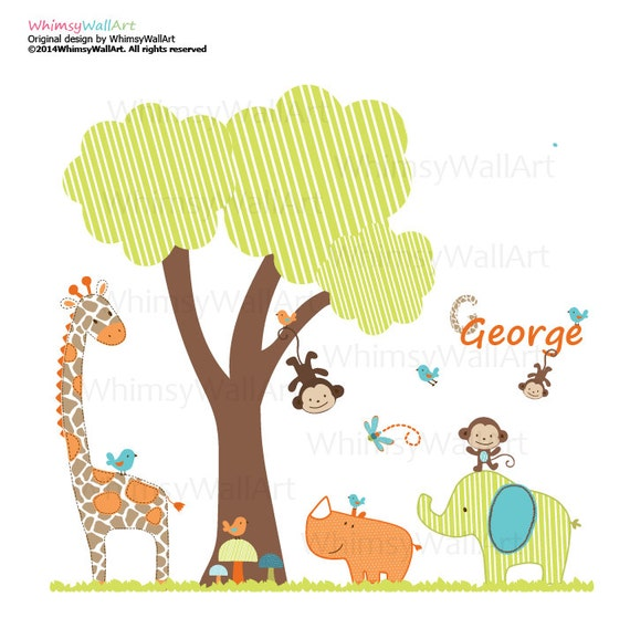 Vinyl Wall Art Decal Sticker On SALE...139.00...WAS...159.00 Boys Pattern Tree and Jungle Animals Decals