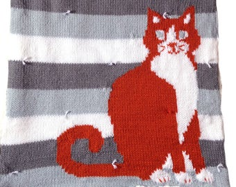 knitted cozy orange tabby cat blanket, stroller car seat blanket, baby shower gift, gender neutral nursery decor, striped blanket