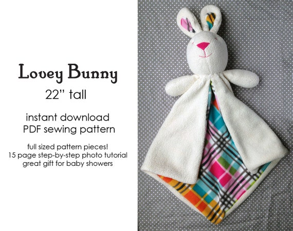 Bunny Lovey Baby Blanket Security Blanket sewing pattern | Etsy