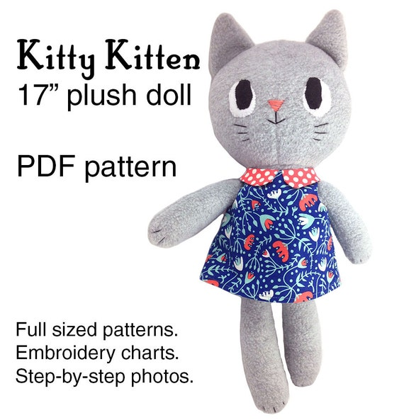 Kitty Kitten Cat Rag Doll Sewing Pattern Soft Toy Plushie Etsy