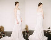 Dionne Wedding Dress // Sequin Fit and Flare Tea Dye Skirt // Silk Tank with Pearl Keyhole Closure // Modern Wedding Dress // Sequinned